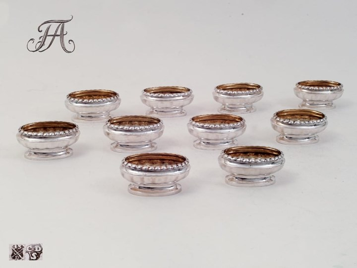 Royal Set of Ten Salt-Cellars, Silver from the Property of the House of Wettin
